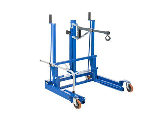 Hydraulic wheel trolley for removal of wheels and brake drums on aircrafts