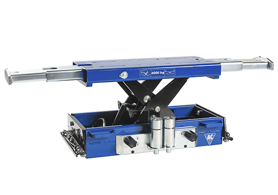Air hydraulic jacking beam for passenger cars, vans and trucks