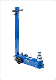 3-stage air hydraulic jack for low buses and other low clearance vehicles