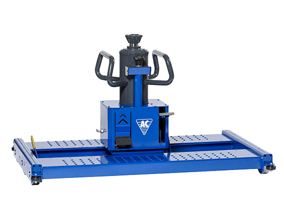 Air hydraulic floor pit jack running in rails